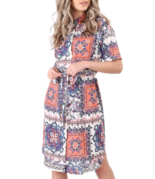Rochie tip camasa din viscoza imprimata