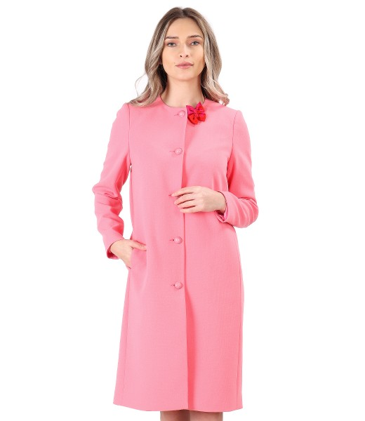 Jacheta eleganta din stofa elastica cu funda la decolteu