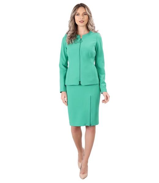 Costum dama office cu fusta si sacou cu fermoar pe fata