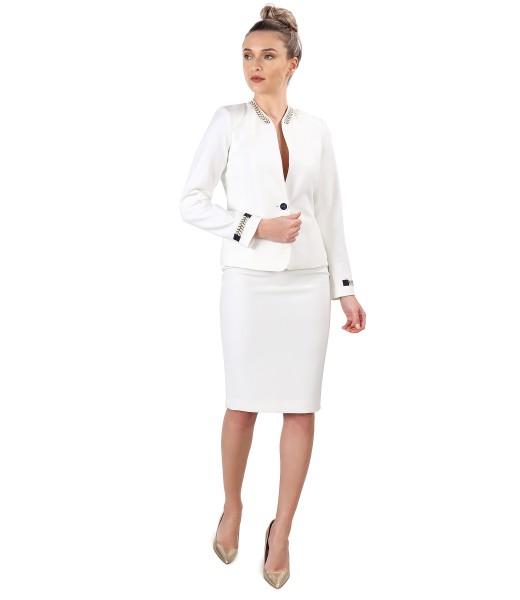 Costum dama office cu fusta si sacou din stofa elastica alba