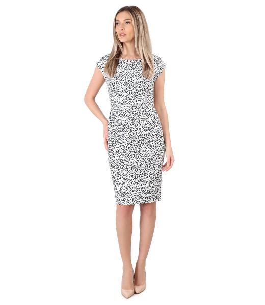 Rochie eleganta din brocart elastic imprimat