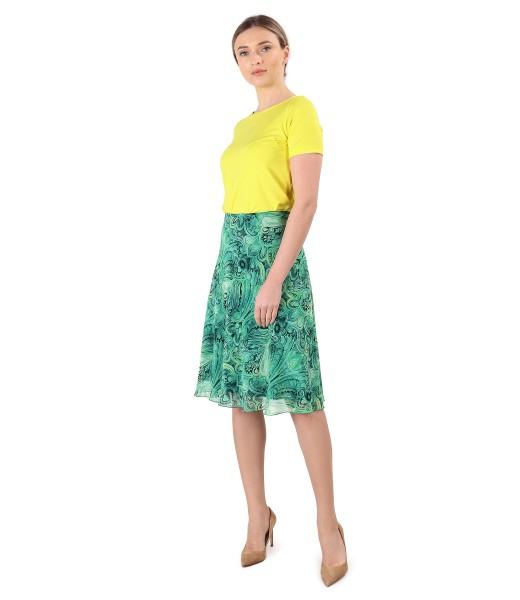 Tinuta eleganta cu fusta evazata din voal si bluza din jerse elastic