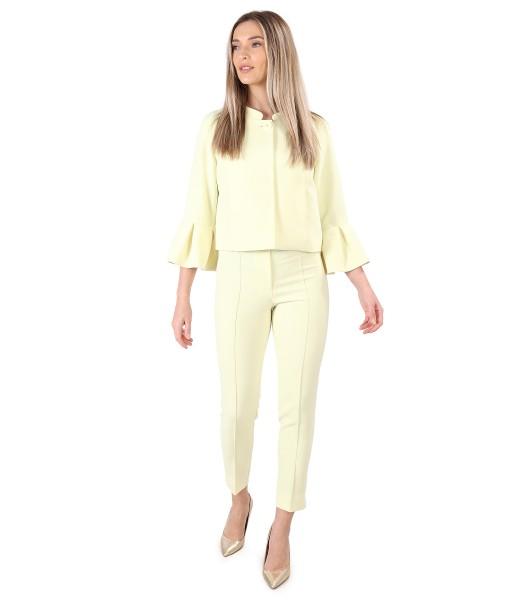 Costum dama office cu sacou cu mansete ample si pantaloni pana