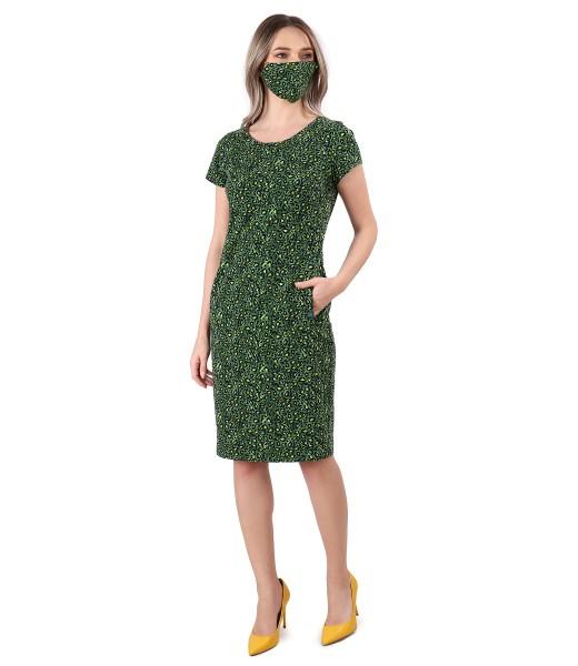 Tinuta eleganta cu rochie midi si masca din bumbac elastic