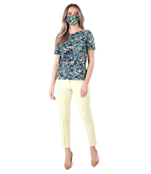 Tinuta eleganta cu bluza din bumbac elastic si pantaloni pana