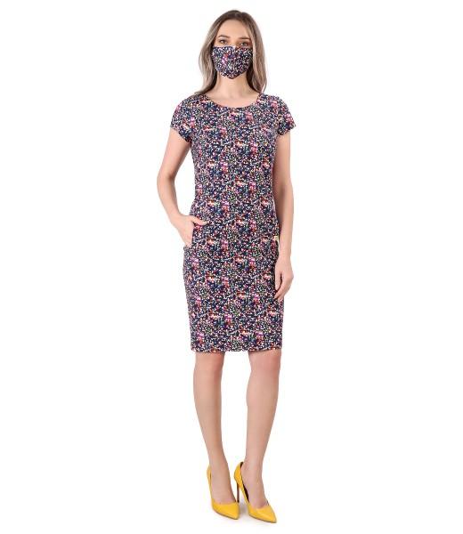 Tinuta eleganta cu rochie si masca din bumbac elastic
