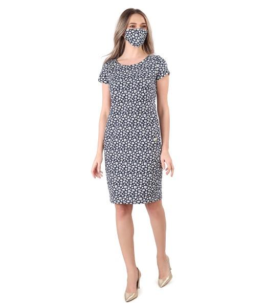 Rochie si masca din bumbac elastic imprimat cu motive florale