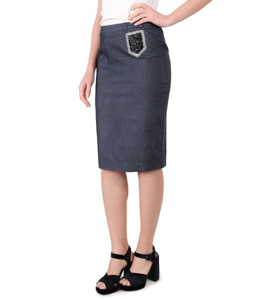 Fusta office din denim elastic