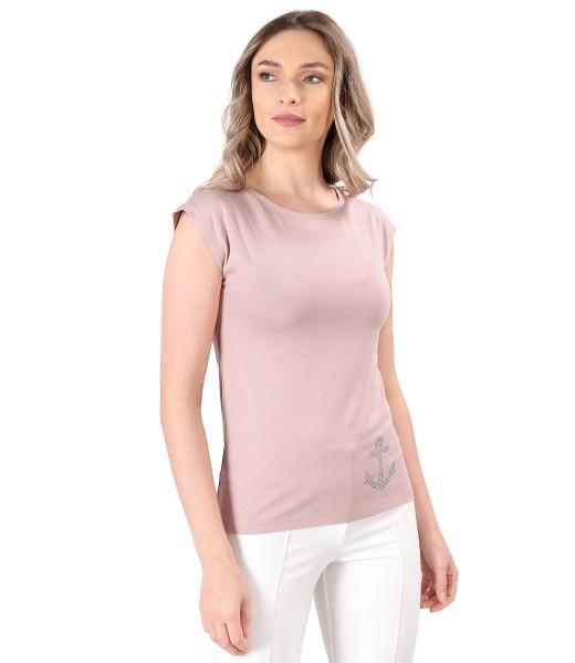 Bluza din jerse elastic uni cu ancora decorativa