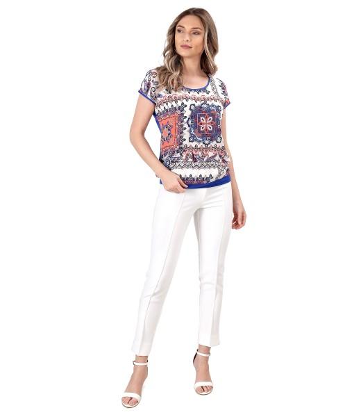Bluza lejera cu fata din viscoza imprimata si pantaloni pana