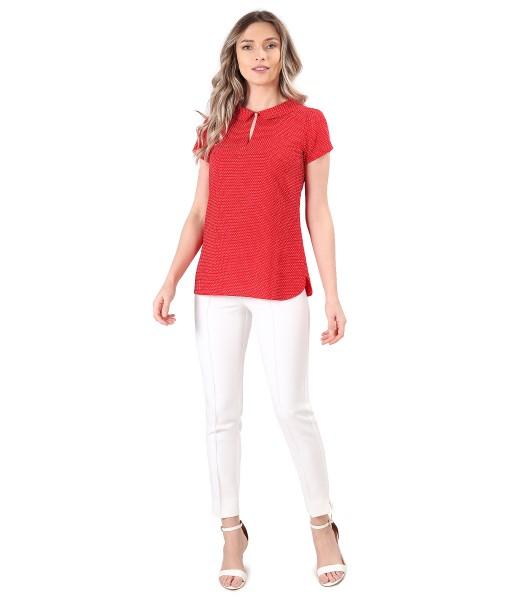 Bluza din viscoza imprimata cu picouri si pantaloni pana