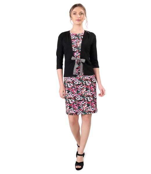 Rochie din jerse elastic cu bluza legata cu cordon