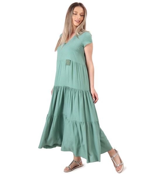 Rochie lunga cu volane din viscoza imprimata cu picouri