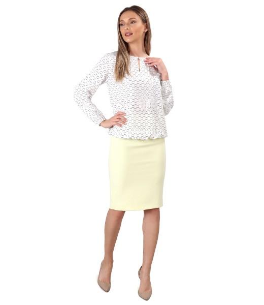 Bluza eleganta din viscoza cu fusta creion