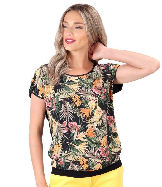 Bluza cu fata imprimata cu motive florale