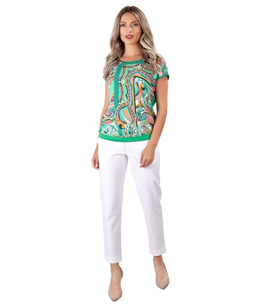 Tinuta eleganta cu pantaloni din bumbac texturat si cu bluza cu fata din viscoza