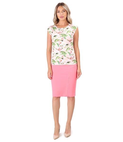 Tinuta office cu bluza din jerse elastic imprimat cu flori si fusta cu fermoar pe fata