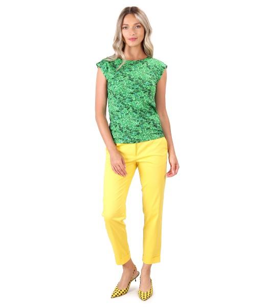 Pantaloni din bumbac texturat cu bluza din jerse elastic imprimat