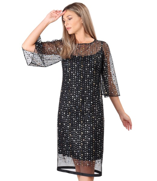 Rochie de seara cu maneci ample din voal cu paiete