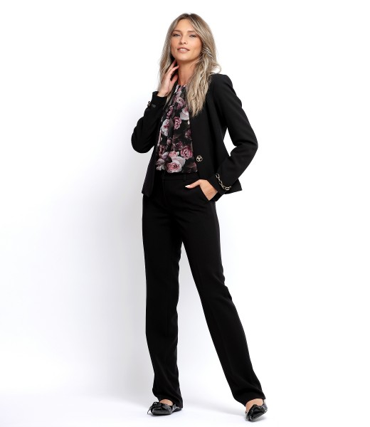 Costum dama office cu sacou si pantaloni din stofa elastica