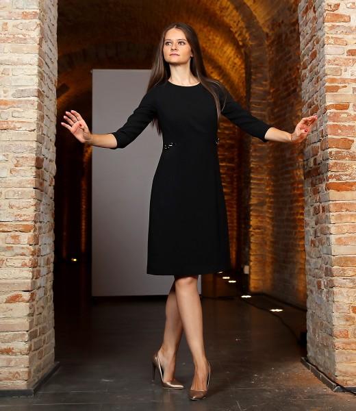 Rochie office din stofa elastica neagra