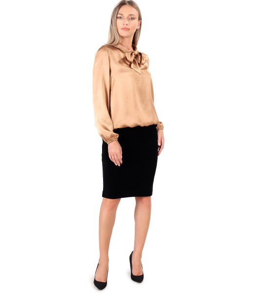 Bluza din viscoza satinata cu fusta din catifea elastica neagra
