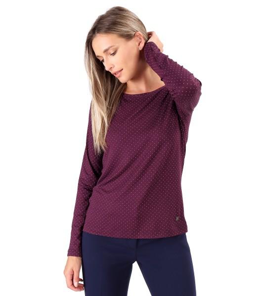 Bluza din jerse elastic de viscoza imprimat cu picouri